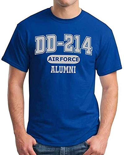 DD-214 Alumni Blue and Silver T Shirt for Proud, Brave Air Force Veterans (Royal,X-Large)