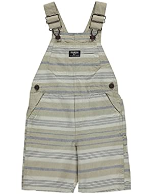 Carters Little Boys Striped Khaki Shortalls 2T