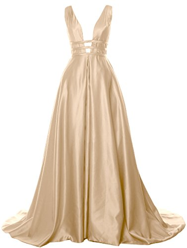MACloth Deep V Neck Maxi Prom Ball Gown Open Back Satin Formal Evening Dress Champagne