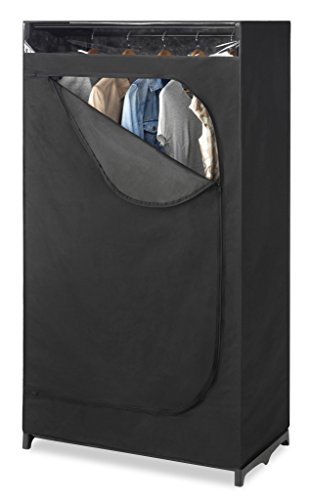 Whitmor Portable Wardrobe Clothes Closet Storage Organizer with Hanging Rack - Black Color - No-tool Assembly - See Through Window - Washable Fabric Cover - Extra Strong & Durable - 19.75 x 36 x 64