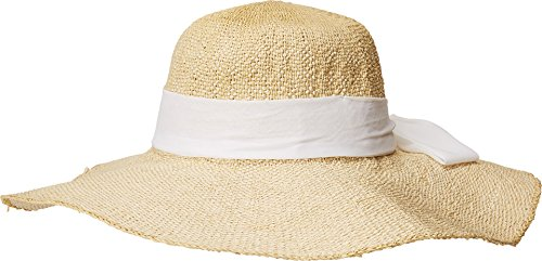(San Diego Hat Company Women's Scarf Bow Trim Woven Paper Floppy Hat, Natural, White, One Size)