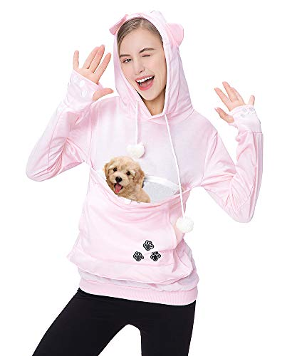 Womens Pet Carrier Shirts Kitten Puppy Holder Sweatshirt Animal Pouch Hood Tops Pink