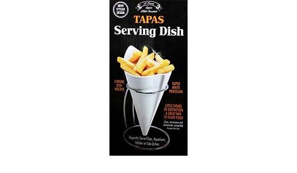 French Fries Plato Plato Soporte Cónico Cono Cromo chips de alimentos