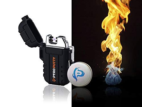 PYRO Putty Dual ARC Windproof Waterproof Lighter KIT with Pyro Putty fire Starter Bundle ()