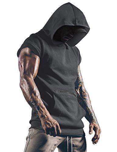 Lomon Heren Gym Tank Tops Sport T Shirt Dunne Fitness Spiervest Mouwloos Hoodies met Zakken