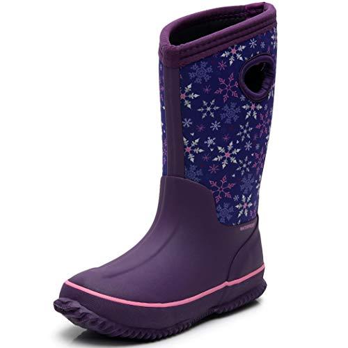 SOLARRAIN Girls Neoprene Rubber Waterproof Dot Snow Boots Winter Warm Kids Outdoor Durable Rain Shoes