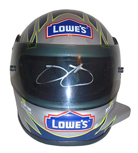 (Nascar All-Time Great Jimmie Johnson Autographed Hand Signed Lowes 1:3 Scale Riddell Nascar Racing Mini Helmet with Proof Photo of Signing, Sprint Cup Series,)