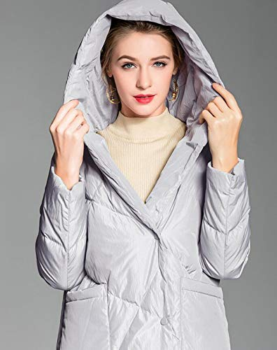 Cappotto Qkdsa Da M Con Lungo Inverno Donna colore Nero Dimensioni Piumino Allentato Cappuccio Gray FFSAxqp