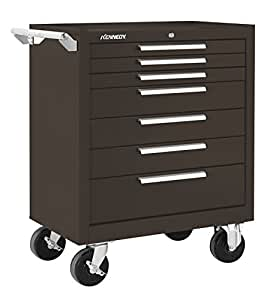 """Kennedy Manufacturing 297Xb 29"""" 7-Drawer Rolling Tool Cabinet With Chest Wheels, Brown Wrinkle"""