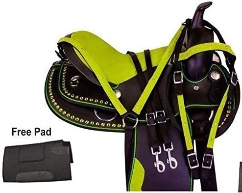 ME Enterprises 合成ウェスタン 大人用 馬 サドル タック バレル レーシング お揃いのヘッドストール 胸襟 & サドルパッド サイズ 14インチから18インチ シート  15.5\