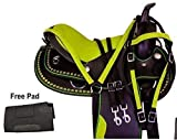 ME Enterprises Youth Child Synthetic Western Pony Miniature Horse Saddle Tack Get Matching Headstall, Breast Collar & Saddle Pad Size 10″ to 12″ Inches Seat Available