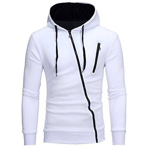 XINFEI Spring Men's Hoodies Solid Color Sportswear 3D Oblique Full Zip Sweatshirt Slim Tracksuit White