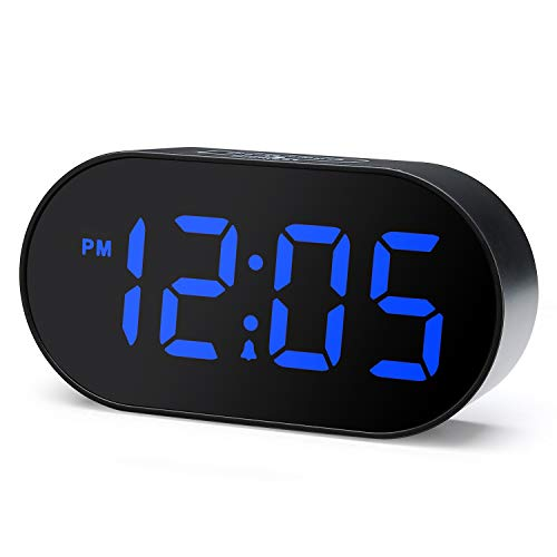 Alarm Blue - Plumeet Digital LED Alarm Clock with Dimmer and Snooze, 2 Level Alarm Volume Optional, Large Blue Digit Display Bedside Clocks with USB Port Phone Charger, Simple Operation (Blue)