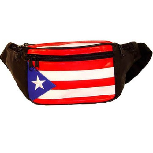 Genuine Leather Puerto Rico Flag Fanny Pack Purse for Men & women (Puerto Rico Wallet)