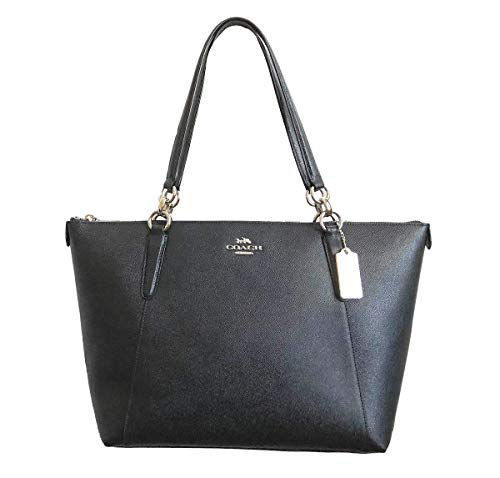 (Coach AVA Leather Shopper Tote Bag Handbag (Silver/Black) )
