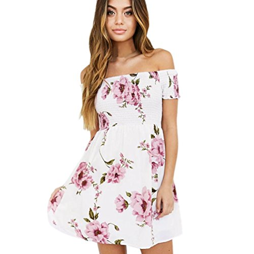 Womens Floral Dress Off Shoulder Beach Sundress Casual Party Short Mini Dress Meyerlbama (M, White) Floral Lace Sundress