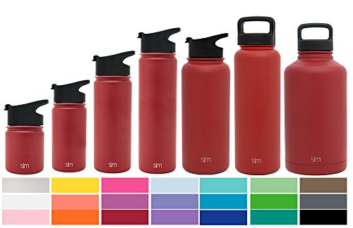 Simple Modern 18 oz Summit Water Bottle - Stainless Steel Hydro Metal Flask +2 Lids - Wide Mouth Double Wall Vacuum Insulated Reusable Red Small Kids Coffee Leak Proof Thermos - Cherry - Small Red Cherry