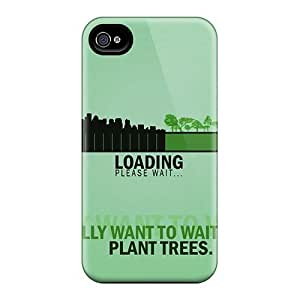 Unique Design Iphone 4/4s Durable Tpu Case Cover Plant Trees-go Green