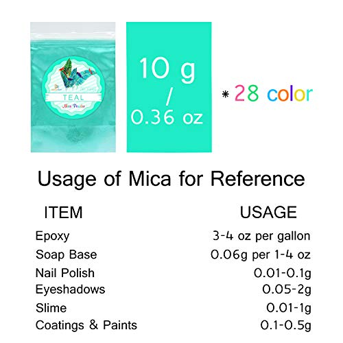 Epoxy Resin Color Pigment – 28 Color Mica Powder Bulk [280g