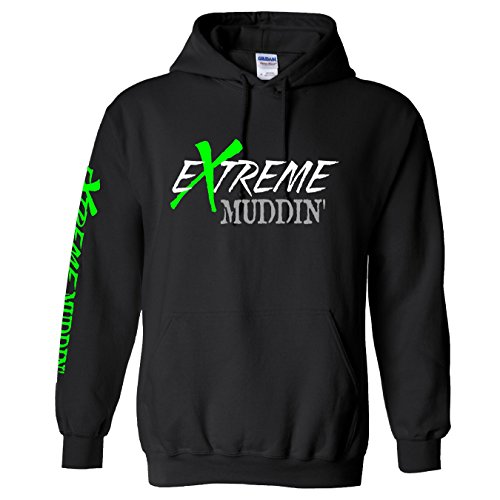 Extreme Muddin Official Logo On on a Black Hoodie - Small