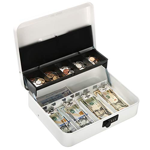 (Metal Cantilever Cash Box with Combination Lock, Decaller Large Lock Money Box - 5 Compartments with Cover & 4 Spring-Loaded Clips for Bills, White, 11 4/5