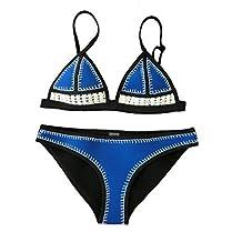 FLORAVOGUE Farrah Blanket Stitch Crochet Neoprene Bikini Triangle Swimsuit Set