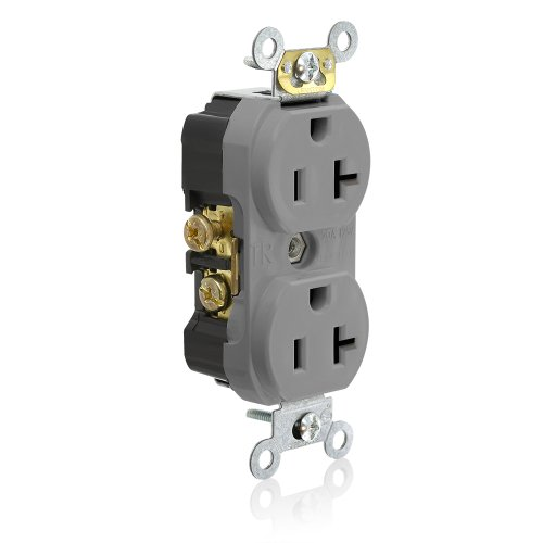 (Leviton TCR20-GY Side Wired Commercial Spec Grade Tamper Resistant Duplex Receptacle, 20-Amp, 125-volt, Gray)