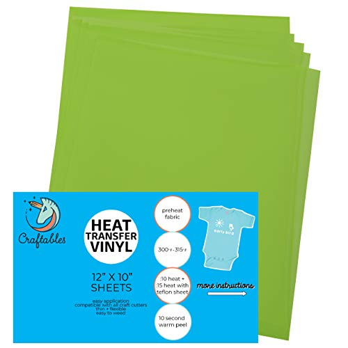 Craftables Lime Heat Transfer Vinyl HTV - 5 Sheets Easy to Weed Tshirt Iron on Vinyl for Silhouette Cameo, Cricut, All Craft Cutters. Ships Flat, Guaranteed Size