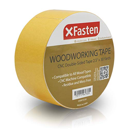 XFasten Double Sided Woodworking Tape w/Yellow Backing 2.5 Inches x 30 Yards (Best Cnc Machines For Woodworking)
