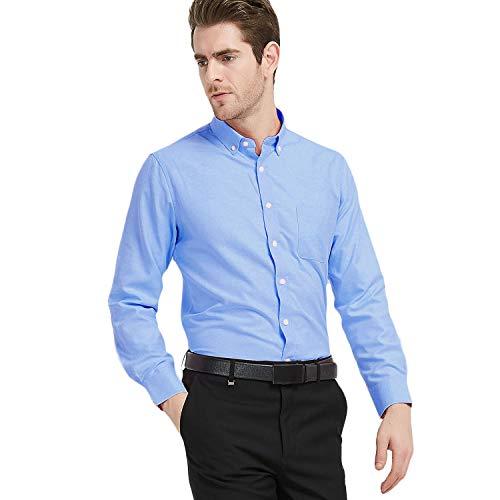 (Ebind Men's Dress Shirt Non Iron Long Sleeve Solid Cotton Button Down Shirts, Blue, 16-16.5)