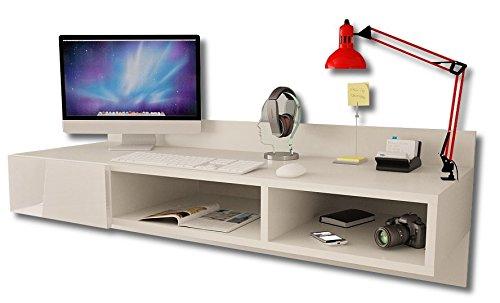 -Moderno escritorio montado a la pared, flotante, con un cajon brillante