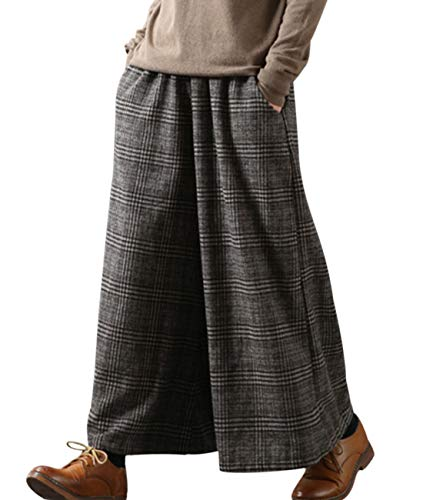 YESNO PK5 Casual Loose Cropped Pants Wool Blend Warm Trousers Checks Wide Leg Pockets (M, Coffee)