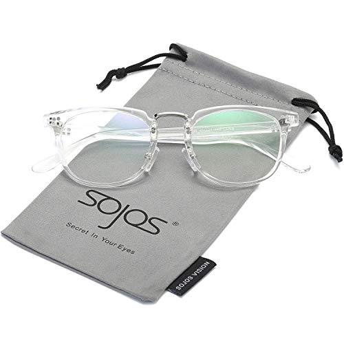 SOJOS Square Optical Frame Clear Lens Eyewear Eyeglasses for Men and Women SJ6005 with Transparent Frame/Clear Lens