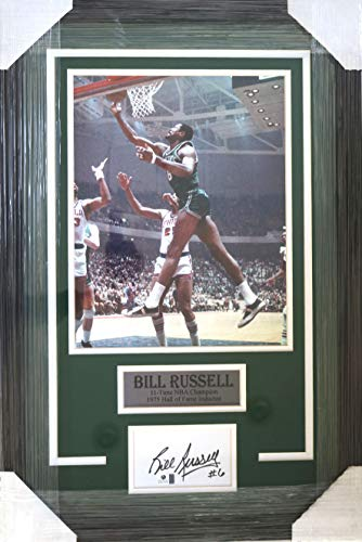 """Bill Russell Boston Celtics 27"""" x 18"""" Framed Display with 11"""" x 14"""" Photo and Signed Autographed Index Card COA"""