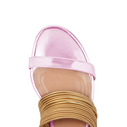 YDN Women Fashion Open Toe Low Heel Mules Sandals Slip on Clogs Slide Shoes Pink 10 by YDN (Image #4)