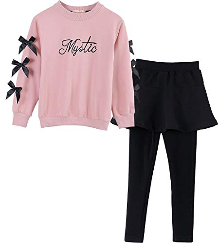 M RACLE Cute Little Girls' 2 Pieces Long Sleeve Top Pants Leggings Clothes Set Outfit (5-6 Years, Pantskirt Pink) 2 Piece Long Sleeve Leggings