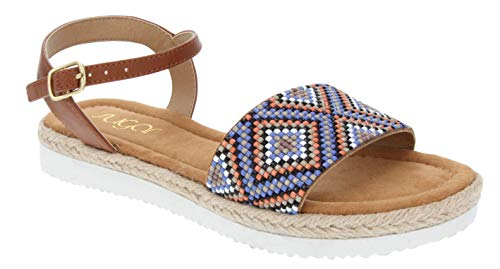 (Sugar Women's Yvie Platform Sandal with Espadrille, Beeded Aztec Detail, and Slingback Buckle Closure 11 Tan Aztec)