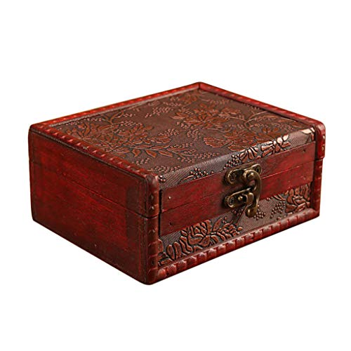 Chinese Wooden Jewelry Box - Anyren Vintage European Jewelry Box Wooden Jewelry Storage Box, Mini Wood Handmade Box Pirate Treasure Box for Storing Jewelry Treasure Pearl Bracelet,Earrings,Necklace (14.5X11.5X6.5cm)