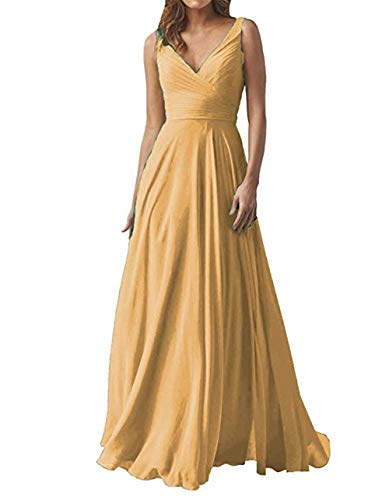 Miao Duo Women's Long V Neck Prom Celebrity Party Dress Chiffon A line Formal Wedding Party Evening Celebrity Gowns Gold 20W