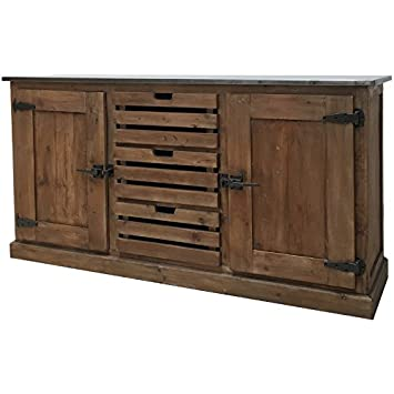Provins Deco Mueble Bahut Enfilade Pino Reciclado De Cajones Cageot - Muebles-de-cocina-reciclados