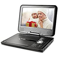 ZEROXCLUB 9.8-inch Portable DVD Player with Swivel Screen,Support USB/SD Card ,3 Hours Rechargeable Battery,Best Gift for Kids(Black)