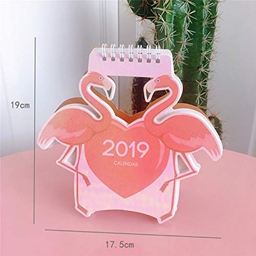 Calendar Planner 2019 Cute Unicorn Flamingo Pig Laser Mini Table Desktop Calendar Agenda Organizer Daily Schedule Planner 2018.10~2019.12 (A)