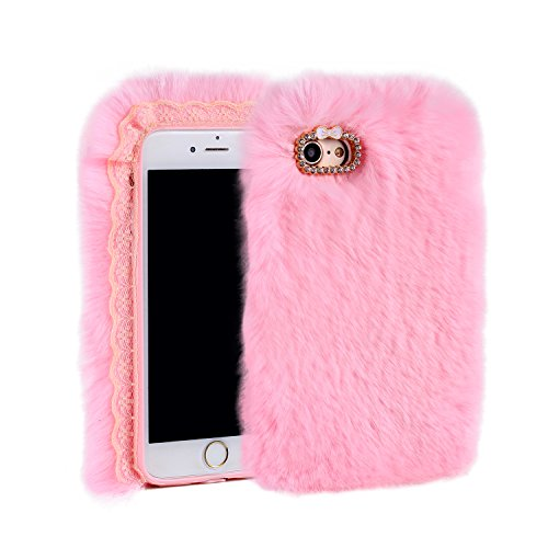 Aikeduo for Iphone5s Case Handmade Bling Crystal Rabbit Fur Rhinestone Case Cover for iPhone 5s Warm Case (Pink)