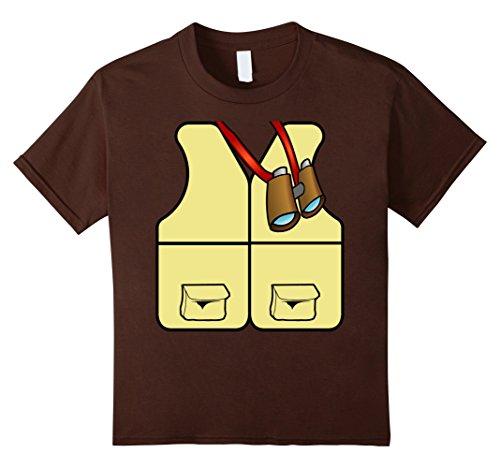 Bug Hunter Costume (Kids Jungle Safari Explorer Vest With Binoculars Dress Up T-Shirt 12 Brown)