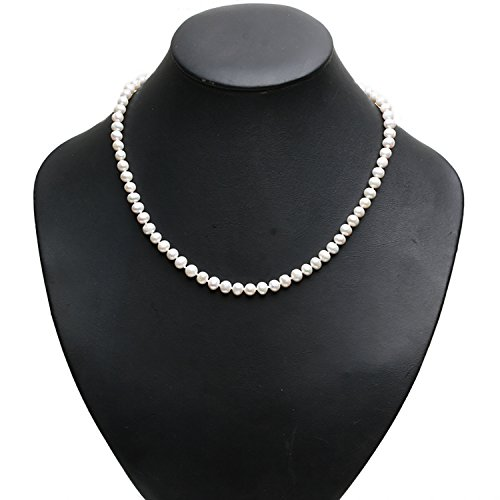 Sterling Silver clasp on Oval White 5.5 - 6mm Freshwater cultured pearl necklace