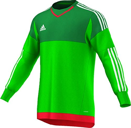 Adidas Top 15 Goalkeeper Mens Soccer Jersey M Green-White-Bright Red (Adidas Soccer Goalie Jerseys)