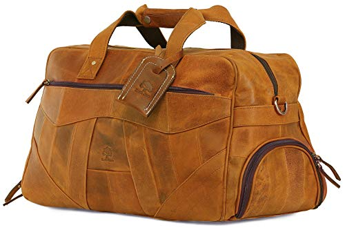Genuine Leather Handmade Duffel Bag For Men, Airplane Underseat Carry On Luggage By Rustic Town