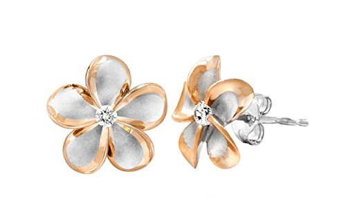 Sterling Silver with 14k Rose Gold Plated Trim CZ Plumeria Stud Earrings, 12mm