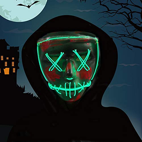 Halloween Mask,LED Masks Glow Scary Mask Light Up Cosplay Mask Rave Mask for Festival Music Party Parties Costume Christmas (Green)