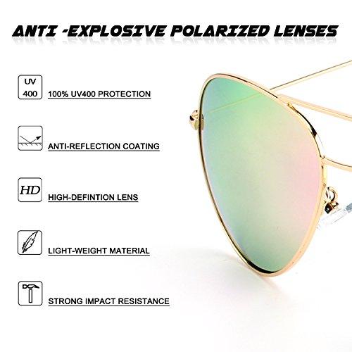 Rosa MZZ9 refleja Premium sol de polarizadas Dorado el completa gafas GQUEEN aviador 1 qPz6nqW